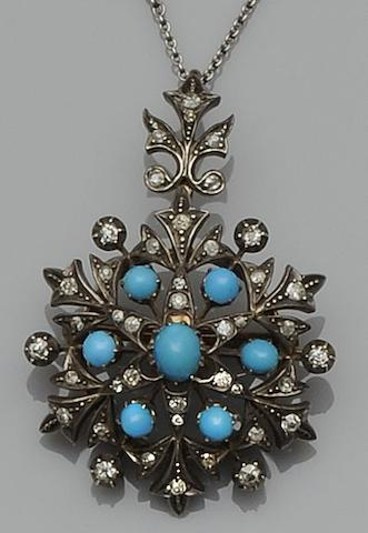 A turquoise and diamond pendant/brooch,