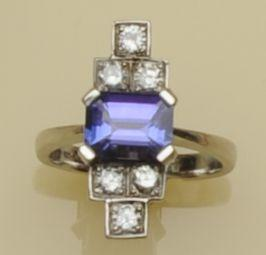 A tanzanite and diamond dress ring