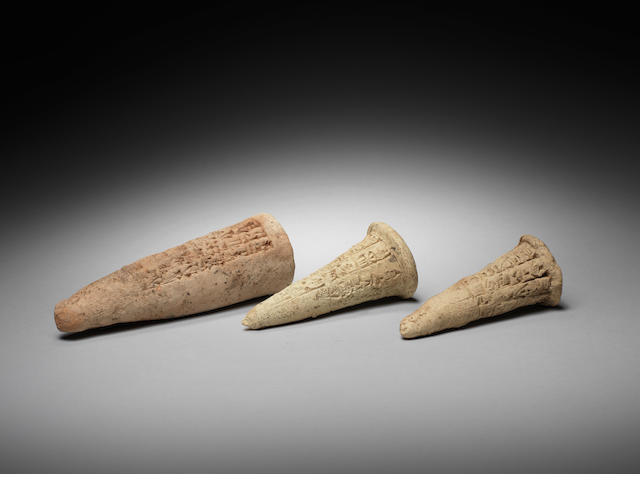 Three Mesopotamian terracotta cuneiform foundation nails 3