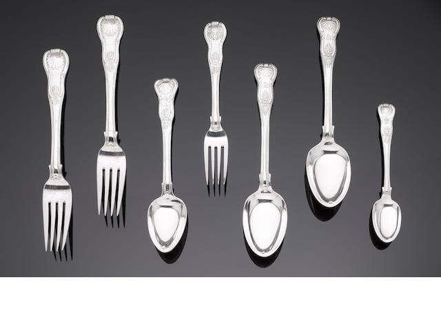 A matched part canteen of Irish Kings pattern flatware,  (57)