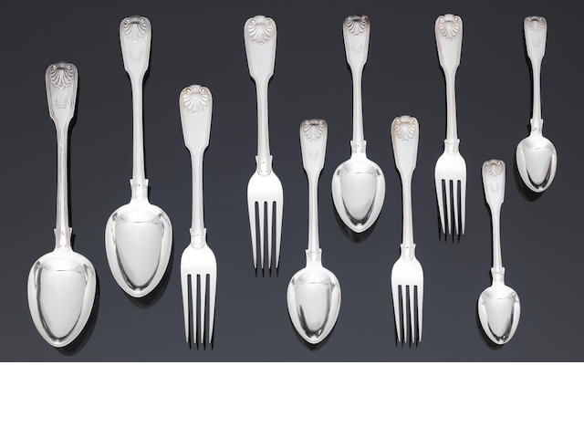 A Victorian silver six place setting of Fiddle,thread anD shell pattern flatware
