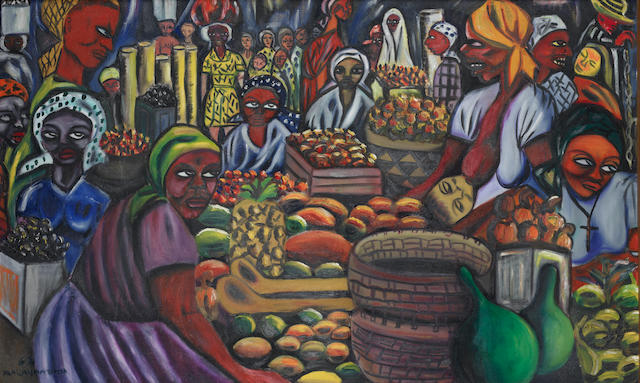 Malangatana Valente Ngwenya (Mozambican, 1936-2011) Fruit market