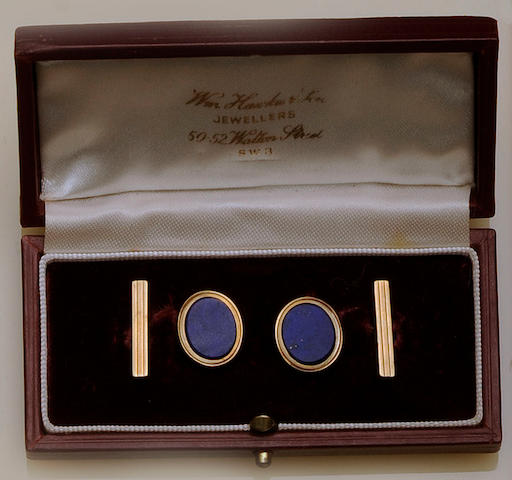 A pair of 9ct gold and lapis lazuli cufflinks