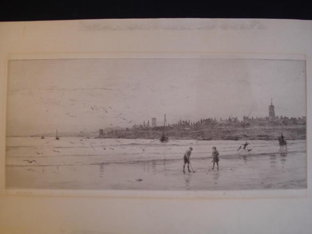 William Lionel Wyllie (British, 1851-1931) Children playing golf on the sands at St Andrews