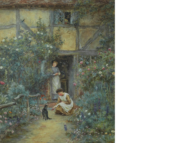 Helen Allingham, RWS (British, 1848-1926) The saucer of milk