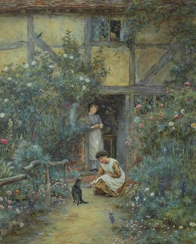 Helen Allingham, RWS (British, 1848-1926) The saucer of milk