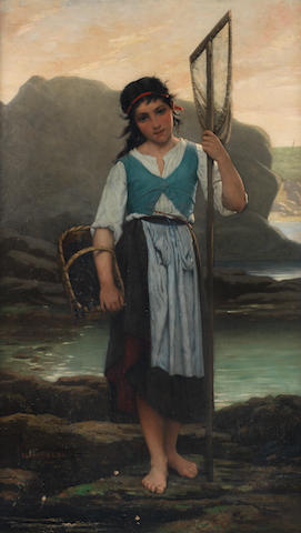 Alfred Guillou (French, 1844-1926) The mussel gatherer