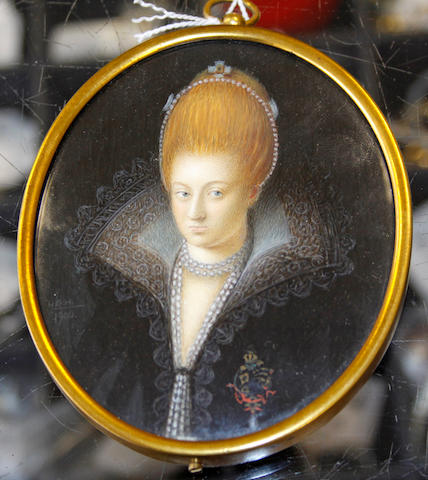 English School, 19th Century Anne of Denmark (1574-1619) Queen Consort (1589-1619), wearing black dress, white and gold lace cartwheel farthingale, double stranded pearl necklace, a brooch suspending a teardrop pearl on her right, her fair hair upswept and dressed with jewels and a single strand of pearls