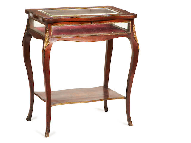 A French late 19th century gilt metal mounted rosewood and marquetry bijouterie table in the Louis XV style