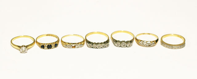 A collection of diamond set rings, (7)