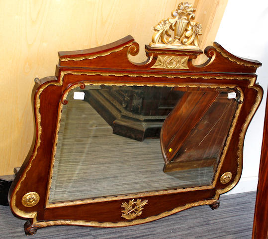 A Victorian mahohgany and gilt painted overmantel mirror