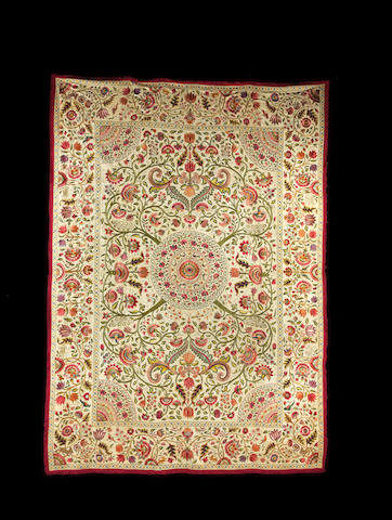 An embroidered textile, made for the European market India, Late 18th century