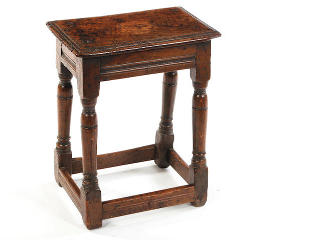 An elm and oak joint stool Late 17th century