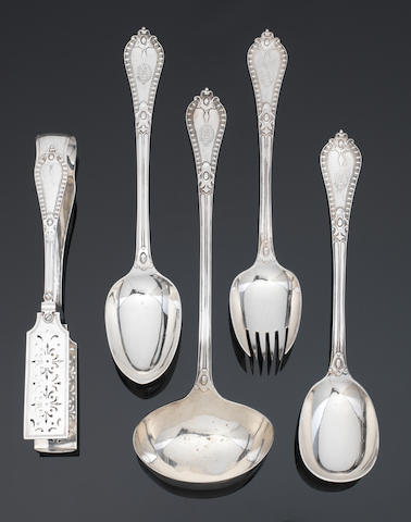A fine Victorian silver table service by George Adams, London, 1879