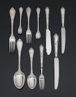 An extensive Victorian silver Grecian pattern table service of flatware, by George Adams, London 1879,