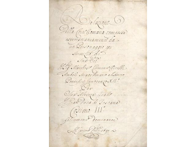 ITALY - MANUSCRIPT Relazione della corti Romana composta estemporaneamenti da un personaggio per servizio di sua Ecc.... Clementi Vitelli... par il Gran Duca di Toscana Cosimo III... il primo Dec.re 1690, manuscript on paper, [c.1691]