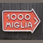 A cold-cast aluminium 'Mille Miglia' directional sign,
