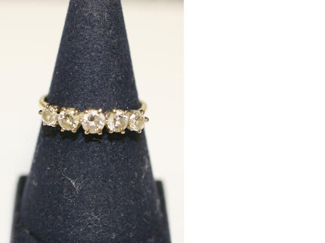 A diamond five stone ring,