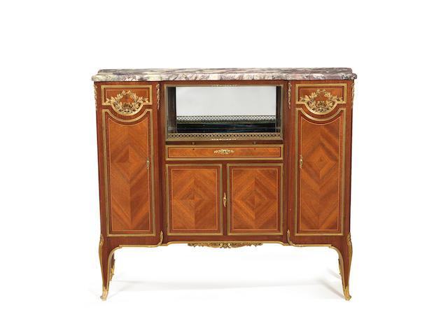A French late 19th century ormolu-mounted satiné and amaranth meuble à hauteur d'appui by Krieger, Paris
