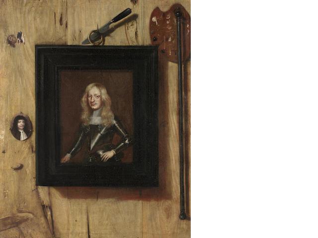 Attributed to Cornelis Norbertus Gysbrechts (Antwerp 1630-circa 1683) A trompe l'oeil still life unframed
