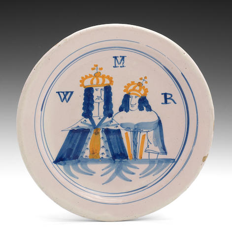 London delft plate of William and Mary, circa 1690