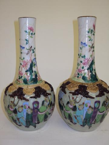 A pair of late 19th century Chinese crackle-glazed pottery vases