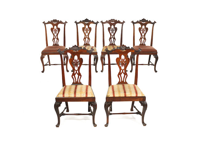 Set of 6 Portuguese dining chairs in Chippendale style