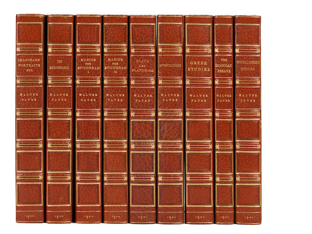 BINDINGS PATER (WALTER) The Works, 9 vol. (including Guardian Essays), LIMITED TO 775 COPIES