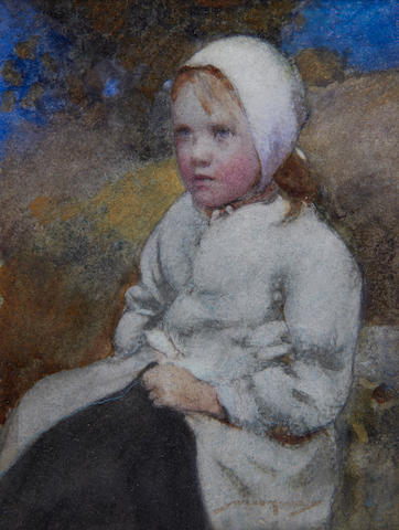 William Lee Hankey, RWS, RI, ROI, RE (British, 1869-1952) Portrait of a young girl