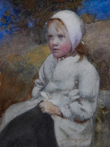 William Lee Hankey, RWS, RI, ROI, RE (British, 1869-1952) Portrait of a young girl