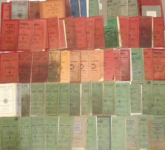 A quantity of post-War spares lists for AJS and Matchless,