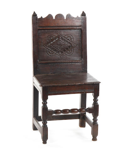 A Charles II oak backstool North Cheshire/South Lancashire
