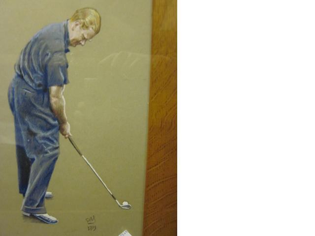 Four pencil and crayon studies of golfers dated 1939