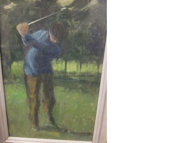 Lawrence Toynbee  (1922-2002): Boy swinging golf club