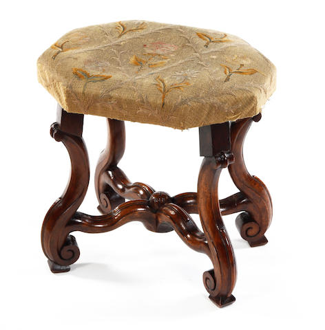 A Franco-Flemish walnut stool