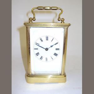 A late Victorian brass carriage clock