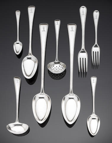 George III bead edge Old English pattern flatware