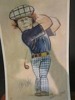 After Tim Holder: Our Heroes and Others A set of 10 prints from original cartoons of contemporary golfers circa 1977, based on the early 20th century 'Spy' drawings from Vanity Fair magazine. Each print has been signed by the featured player and includes amongst others Jack Nicklaus (2), Tom Watson and Seve Ballesteros.