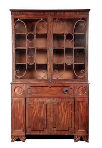 A late George III mahogany secretaire bookcase