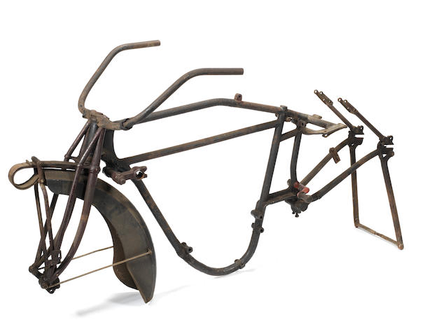 A 1922 Indian Powerplus motorcycle frame and a sidecar chassis,