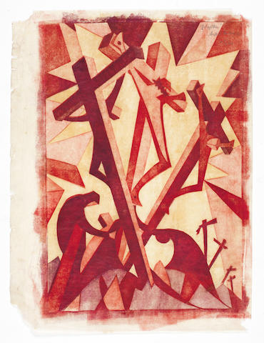 Sybil Andrews, CPE (British/Canadian, 1898-1993) Golgotha Linocut printed in pale yellow ochre, pale spectrum red, crimson and alizarin purple madder, 1931, on buff oriental laid tissue, signed, titled and numbered 47/60 in pencil top right, with margins, 310 x 208mm (12 1/8 x 8 1/8in)(B)(unframed)