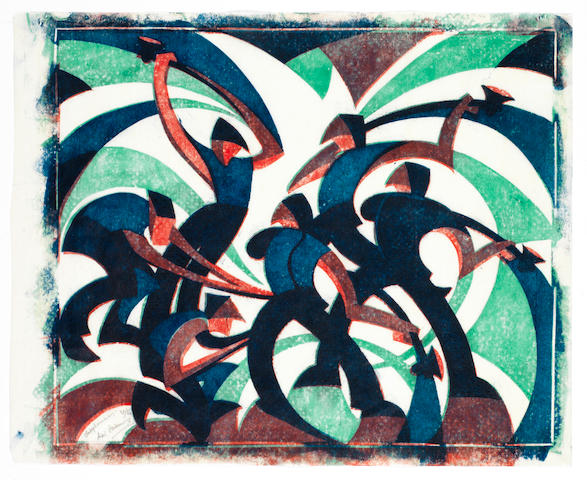 Sybil Andrews, CPE (British/Canadian, 1898-1993) Sledgehammers (SA 26) Linocut printed in spectrum red, viridian and Chinese blue, 1933, on buff oriental laid tissue, signed, titled and numbered 36/60 in pencil, with margins, 299 x 358mm (11 3/4 x 14in) (SH) (unframed)
