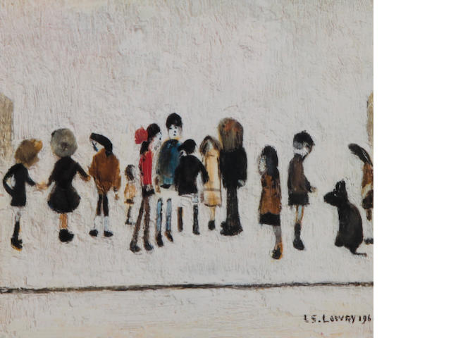 Laurence Stephen Lowry R.A. (British, 1887-1976) 'Group of Children', signed in pencil, with blind stamp, colour print, together with another, three printed sketches, with blind stamp, (2) 18 x 19.5cm