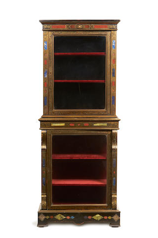 A late 19th century brass mounted and marble inset, ebonised and brass 'boulle' marquetry display cabinet
