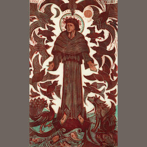 Cyril Edward Power (British, 1872-1951) St Francis (CEP 45) Linocut printed in venetian red, viridian and crimson, c.1937, on buff oriental laid tissue, signed, titled and numbered 2/60 in pencil, with margins, 475 x 313mm (18 3/4 x 12 1/4in) (SH)