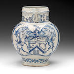 English delftware jug, WMH 1699, with armorial and remarkable figures (body crack resealed)
