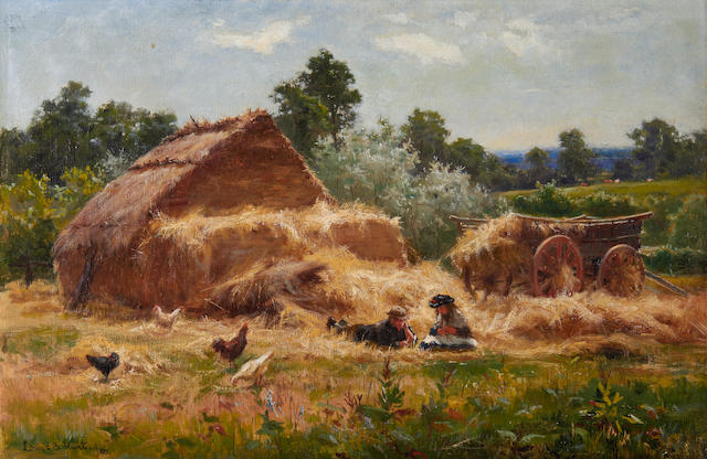 Louis Bosworth Hurt (British, 1856-1929) A straw yard, Surrey