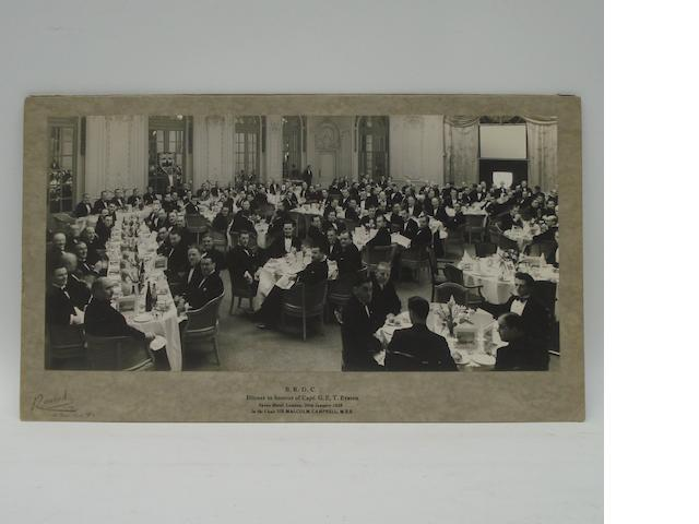 A 1938 BRDC Dinner official photograph, held in Honour of Capt. George Eyston,