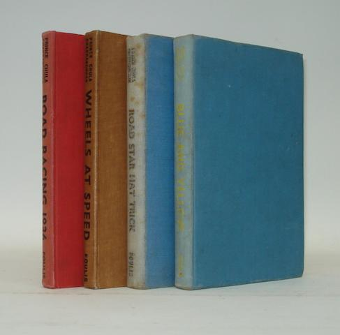 Four signed motoring books by Prince Chula,