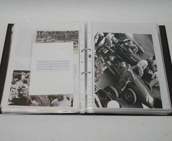 A file of photographs and ephemera relating to Vanwall race cars,